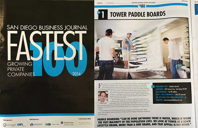 Tower Paddle Boards Fastest Growing Company