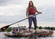 Paddle Boarder Trash Cleanup