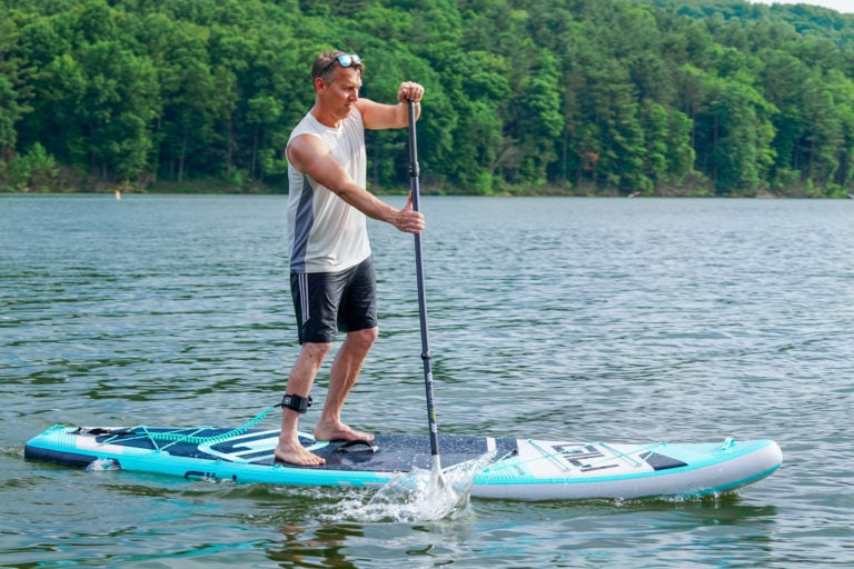 A Gili Adventure paddle board being tested for review.