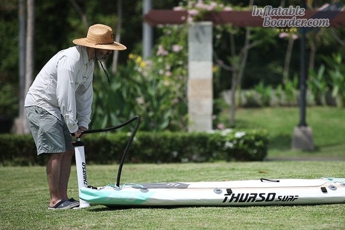 Inflating THURSO SUP Board