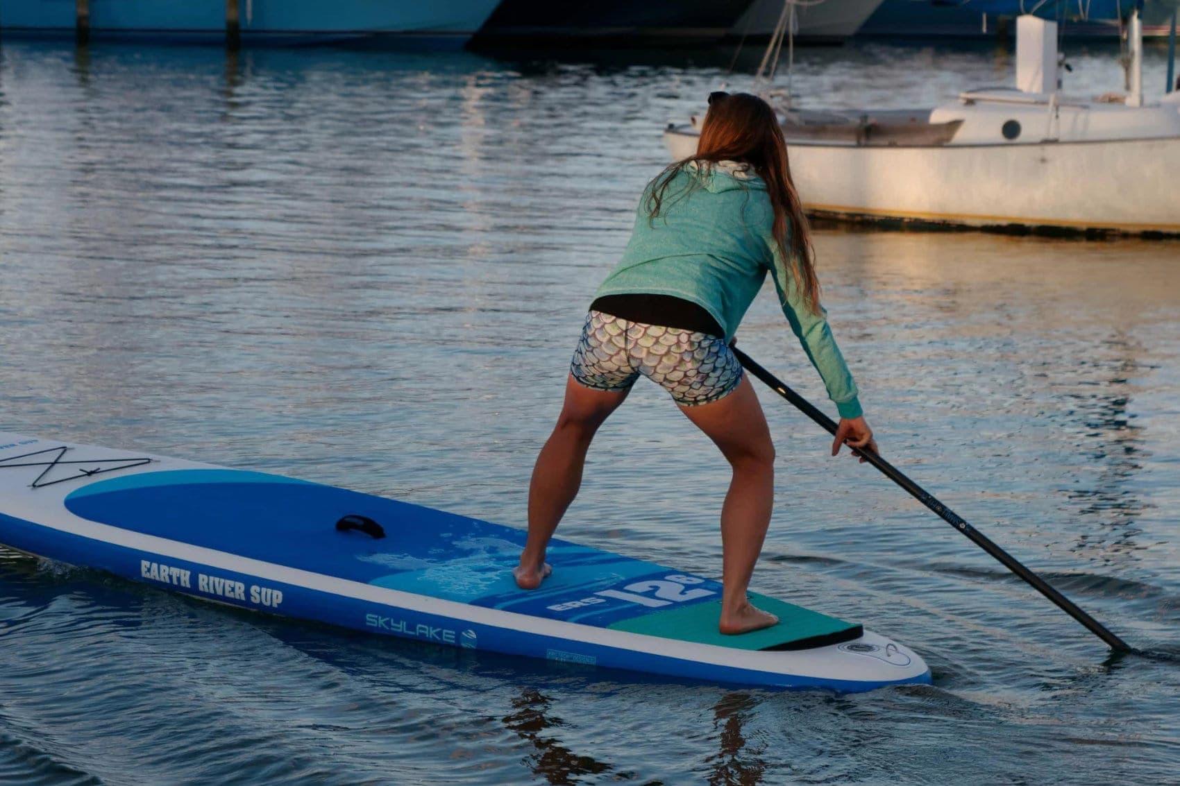 Woman Paddling Earth River SUP 12-6 SKYLAKE BLUE
