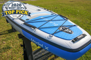 "Blackfin Model X paddle board review - a badge reads ""2020 Best iSUPS TOP PICK"""
