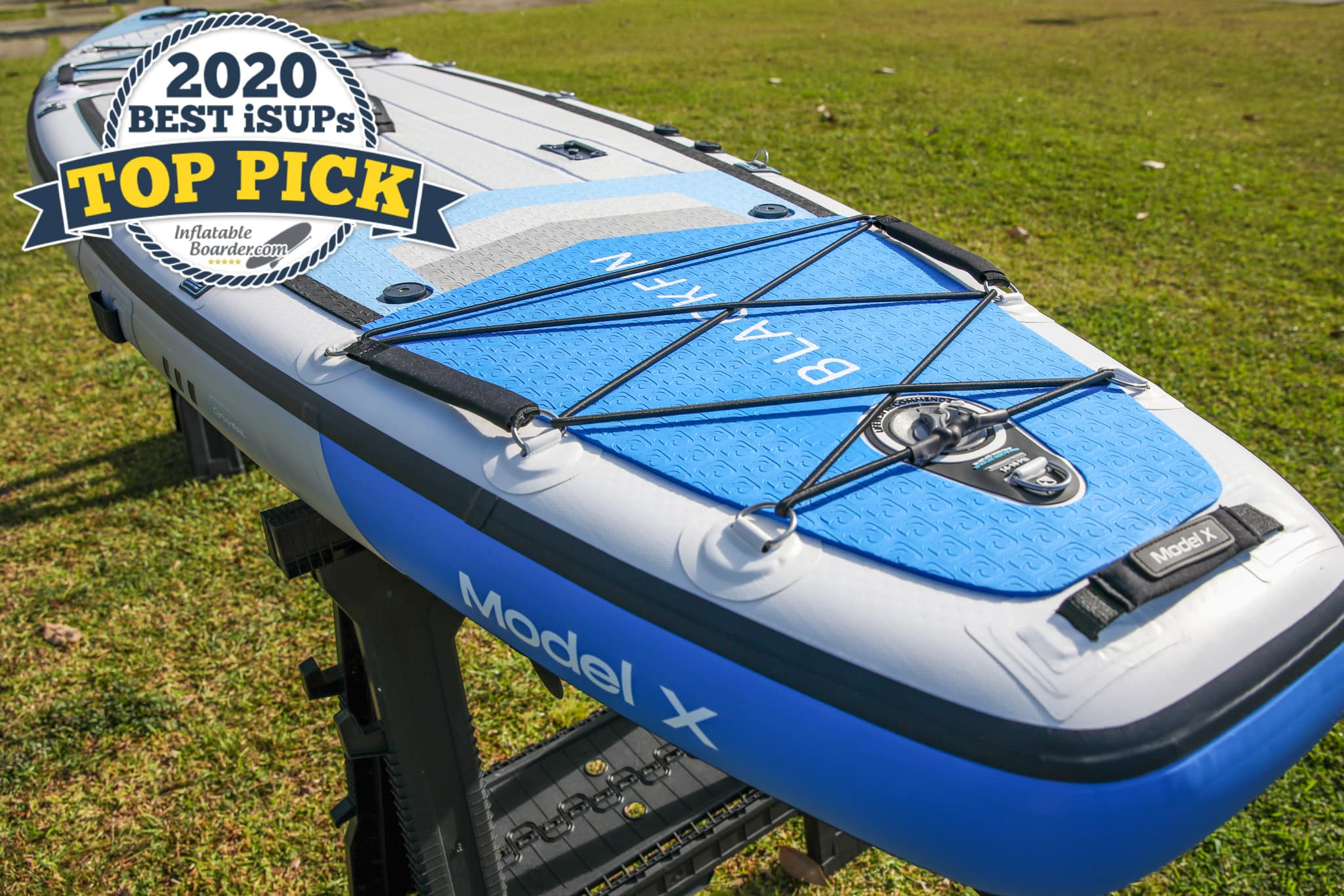"""Blackfin Model X paddle board review - a badge reads """"2020 Best iSUPS TOP PICK"""""""