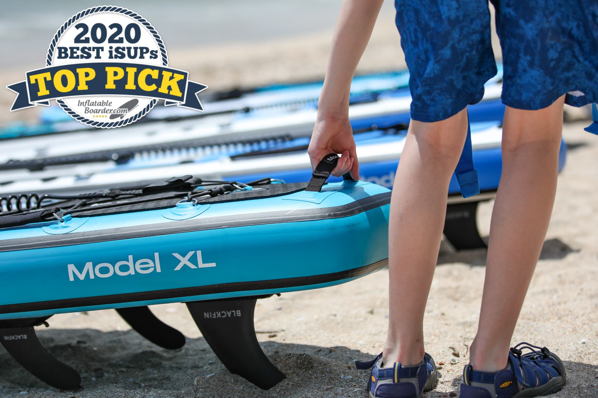 """Blackfin Model XL paddle board review - a badge reads """"2020 Best iSUPs TOP PICK"""""""