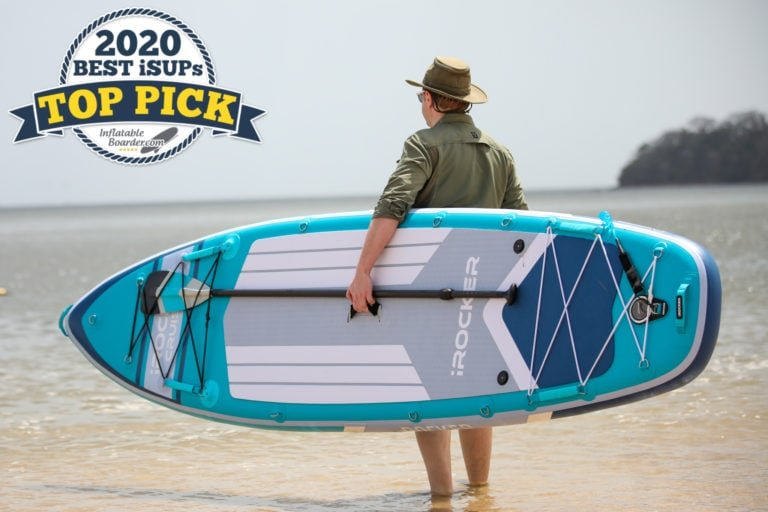 "iROCKER Cruiser paddle board review - a badge reads ""2020 Best iSUPs TOP PICK"""
