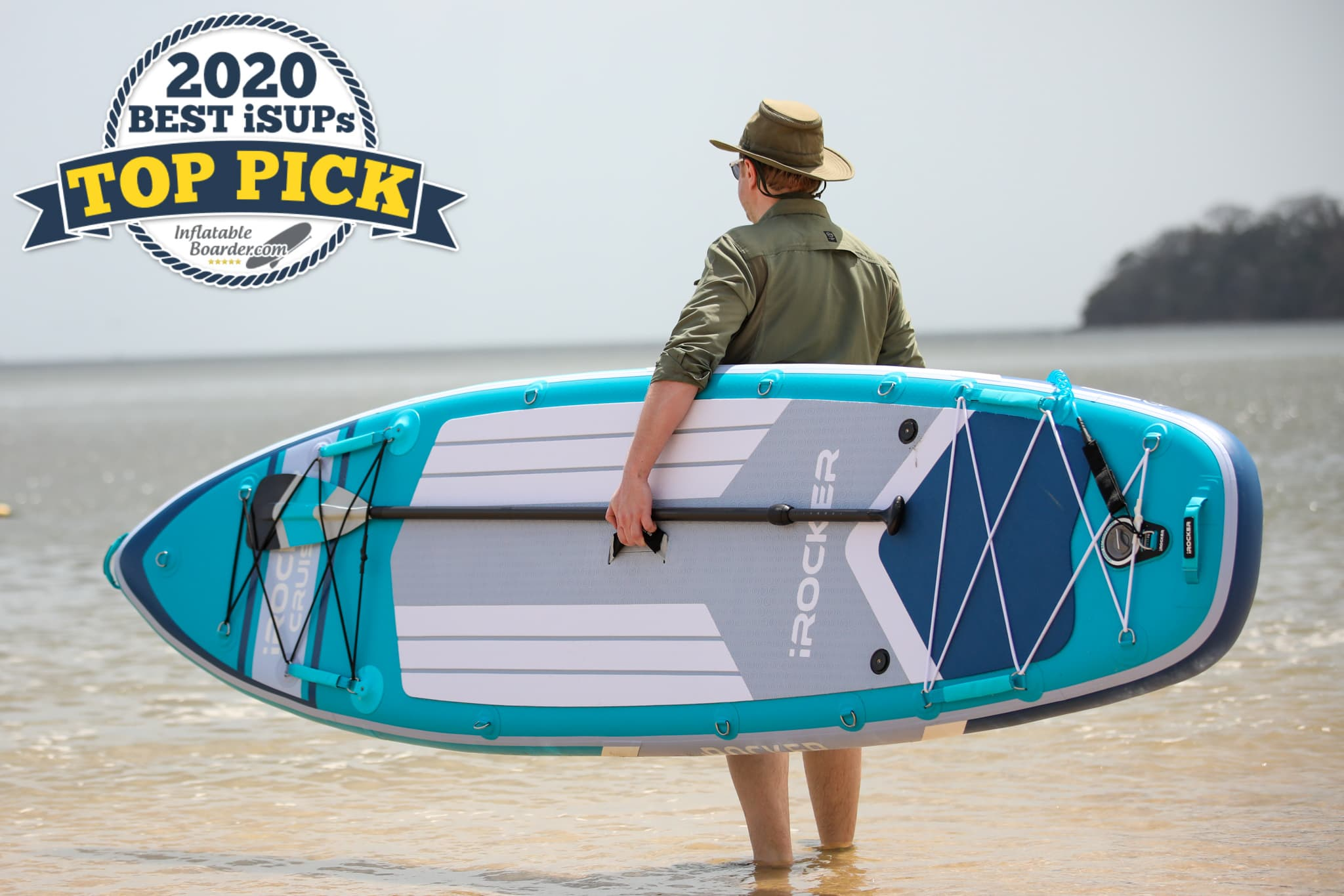 """iROCKER Cruiser paddle board review - a badge reads """"2020 Best iSUPs TOP PICK"""""""