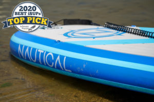 "iROCKER Nautical paddle board review - a badge reads ""2020 Best iSUPs TOP PICK"""