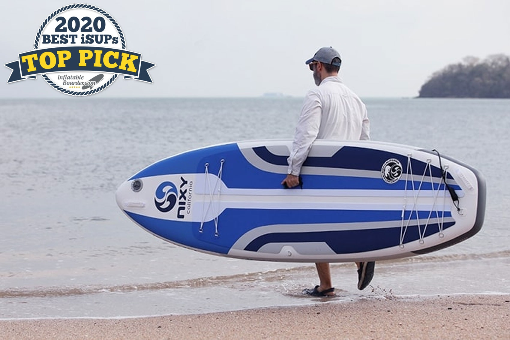"""Blue Nixy Huntington G3 paddle board review. A badge in the corner reads """"2020 Best iSUPs TOP PICK"""""""