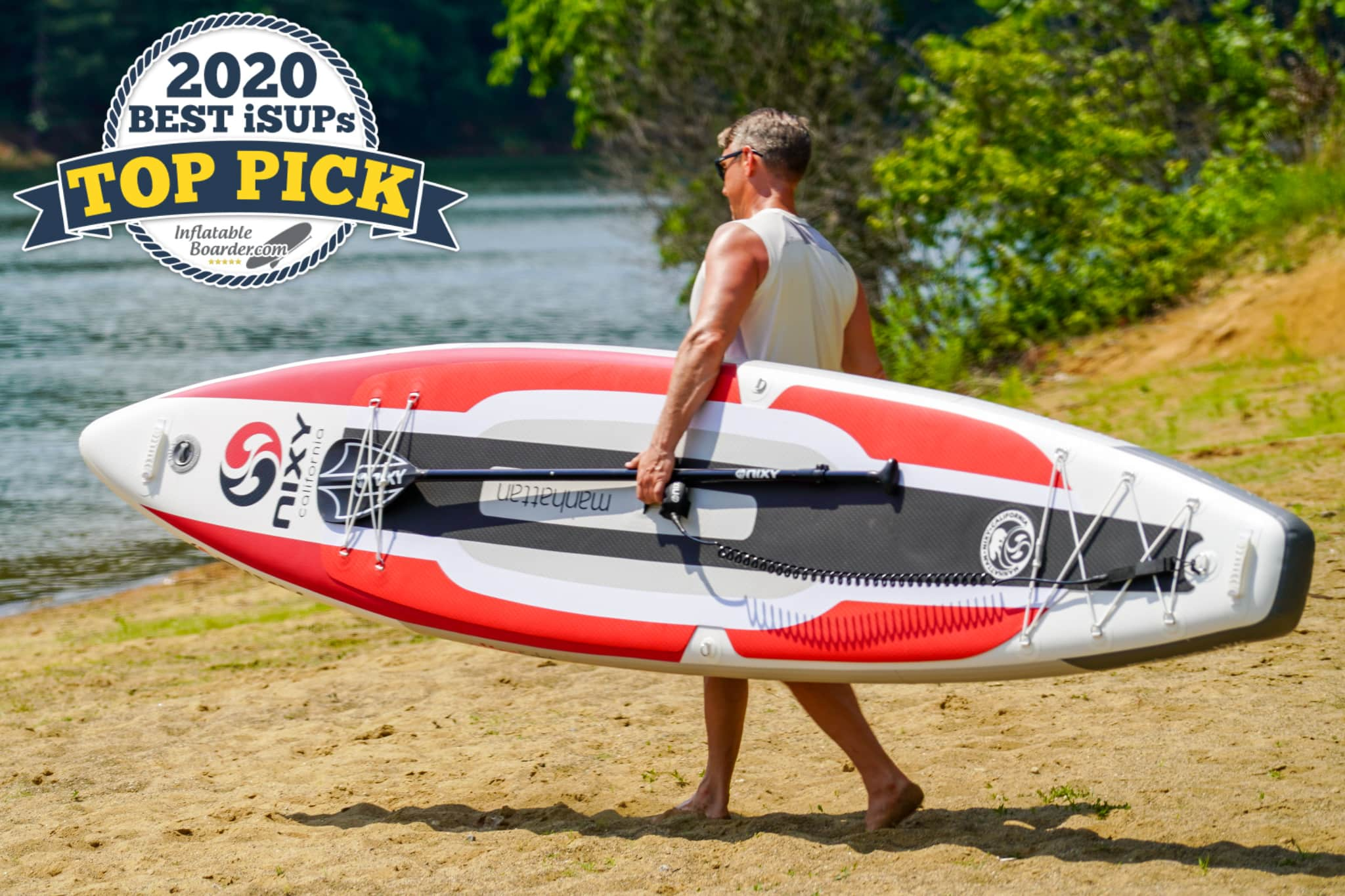 """Red Nixy Manhattan G3 paddle board review. A badge reads """"2020 Best iSUPs TOP PICK"""""""