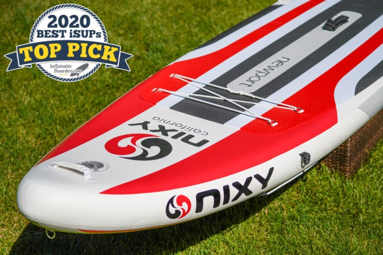 "Red Nixy Newport G3 paddle board review. A badge in the corner reads ""2020 Best iSUPs TOP PICK"""
