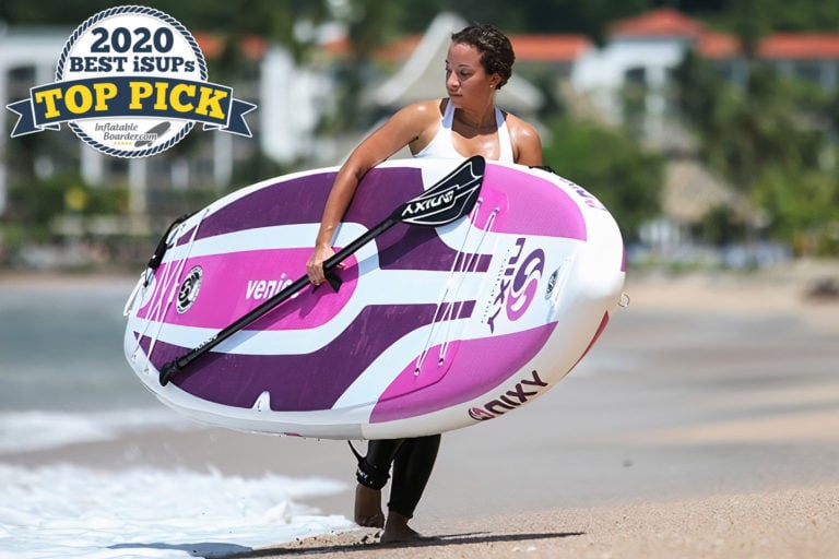 "Purple Nixy Venice G3 paddle board review. A badge reads ""2020 Best iSUPs TOP PICK"""
