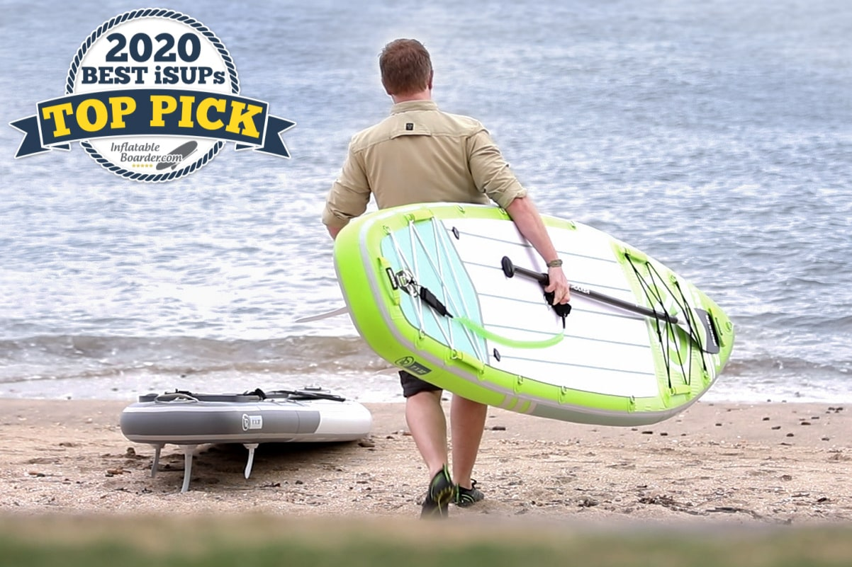 """iROCKER All-Around 11 SUP paddle board review - Includes badge that reads """"2020 Top Pick SUP"""""""