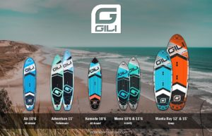 Gili Sports inflatable paddle boards include Air, Adventure, Komodo, Meno 10'6, Meno 11'6, Manta Ray 12', and Manta Ray 15'.