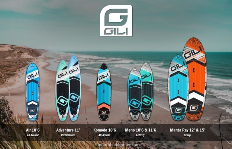 Gili Sports inflatable paddle boards include Air, Adventure, Komodo, Meno 10'6, Meno 11'6, Manta Ray 12', and Manta Ray 15'.