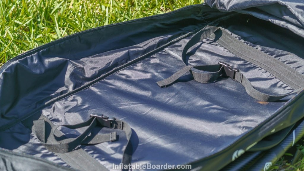 The interior of the 2021 NIXY bags are fully lined and include straps to secure the SUP.