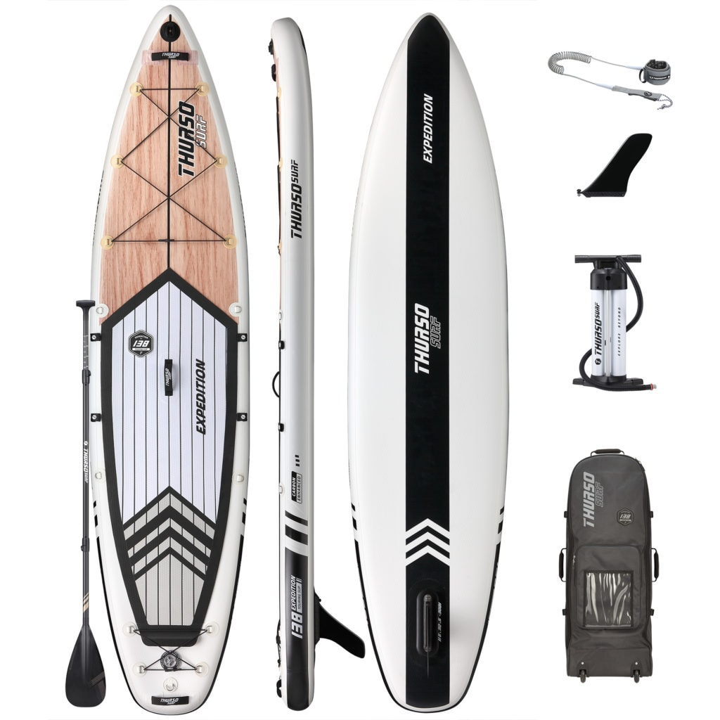 Thurso Expedition touring SUP accessories package includes premium bag, dual-chamber pump, single fin, coiled SUP leash, and carbon-hybrid paddle.