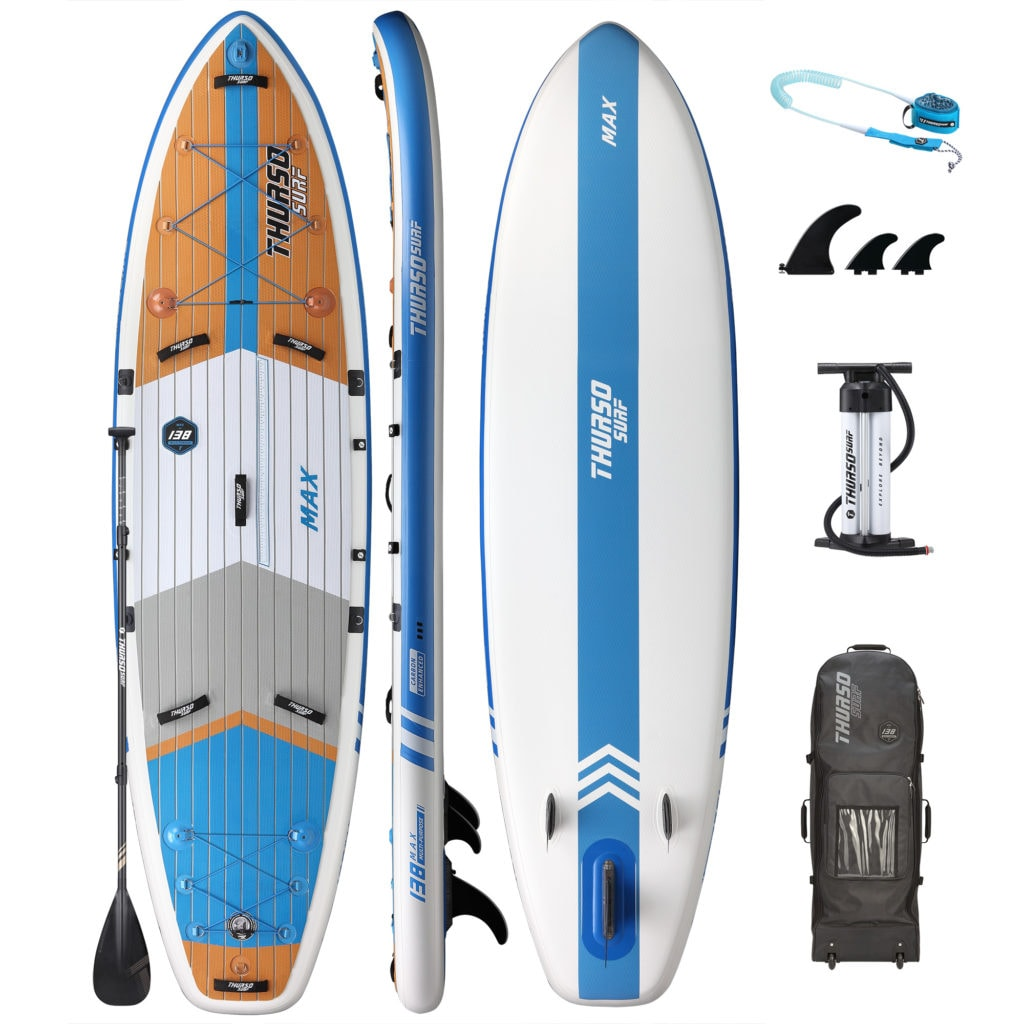 Thurso Max cruiser SUP accessories package, includes premium bag, dual-chamber pump, 3 fins, coiled SUP leash, and carbon-hybrid paddle.