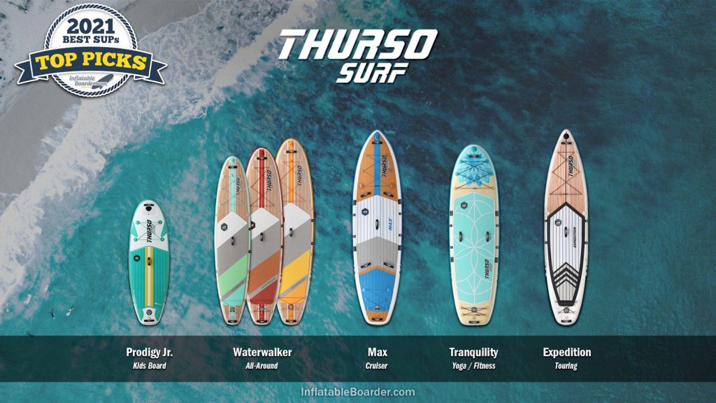 THURSO SURF inflatable paddle boards compared, includes Waterwalker, Prodigy Junior, Max, Tranquility and Expedition SUPs.