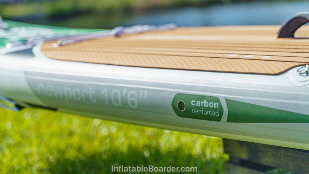 """The carbon fiber reinforced side rail of the Newport 10'6""""."""