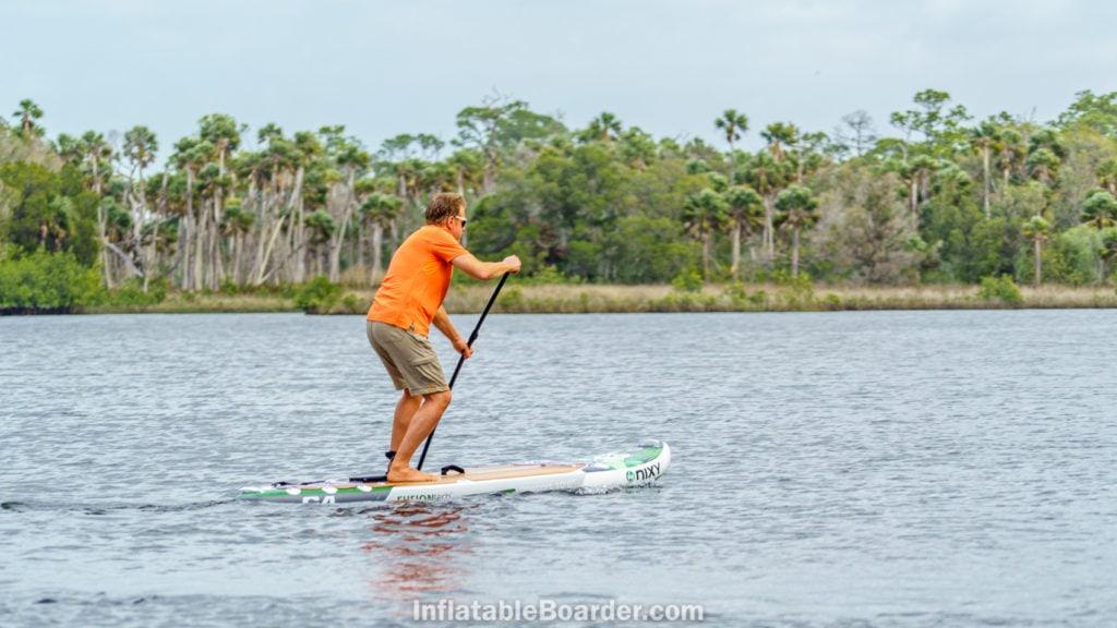 Hard paddling the Newport on a lake.