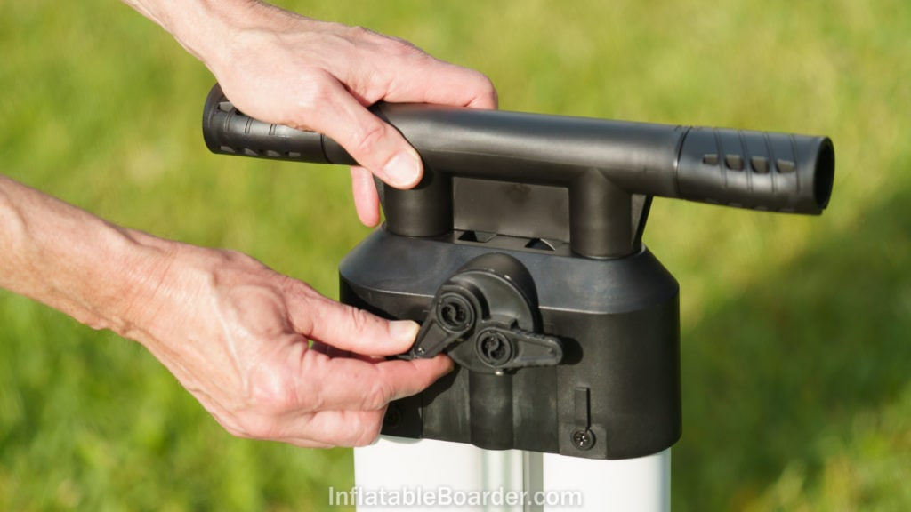 Twisting the levers on the back of the pump selects one of three stages.