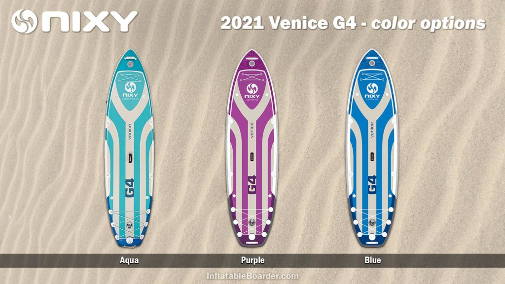 2021 NIXY Venice G4 color options compared. Includes aqua, purple, and blue.