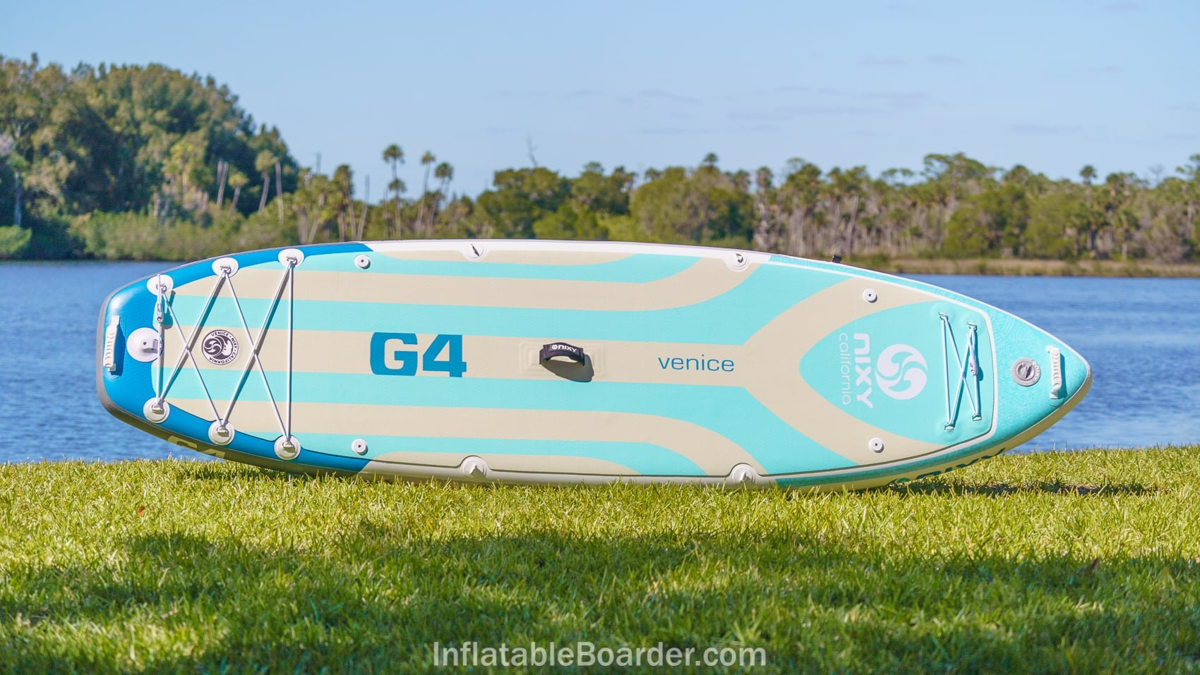 Top overview of the 2021 Nixy Venice G4 in aqua color option.