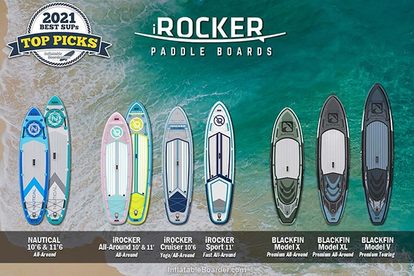 iROCKER SUP inflatable paddle boards compared. Includes NAUTICAL 10'6 & 11'6, iROCKER All-Around 10' & All-Around 11', iROCKER Cruiser, iROCKER Sport, and BLACKFIN Model X, Model XL, and Model V.