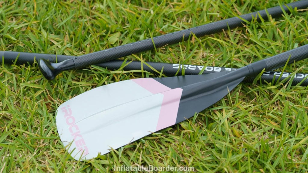 Pink paddle blade and carbon fiber paddle shafts.