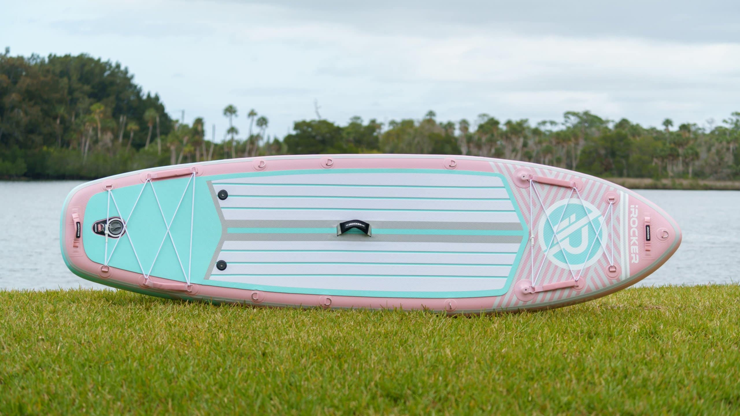 Overview of the 2021 iROCKER paddle board in pink.