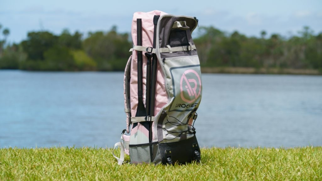 Front of the pink iROCKER bag.