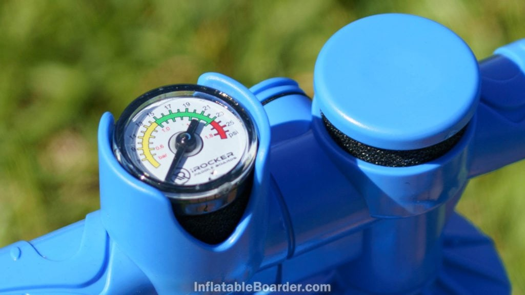 The pump's gauge is marked from 7 - 25psi (0.5 - 1.8 bar) with yellow, green, and red safety margins.