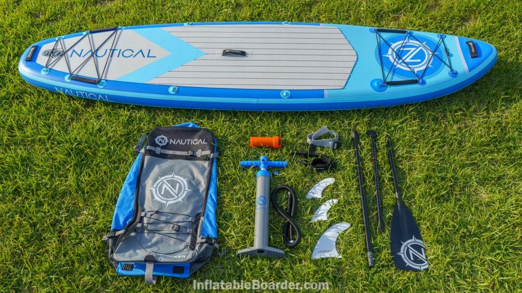 "2021 NAUTICAL 10'6"" accessories bundle includes bag, pump, repair kit, SUP leash, 3 fins, compression strap, and paddle."