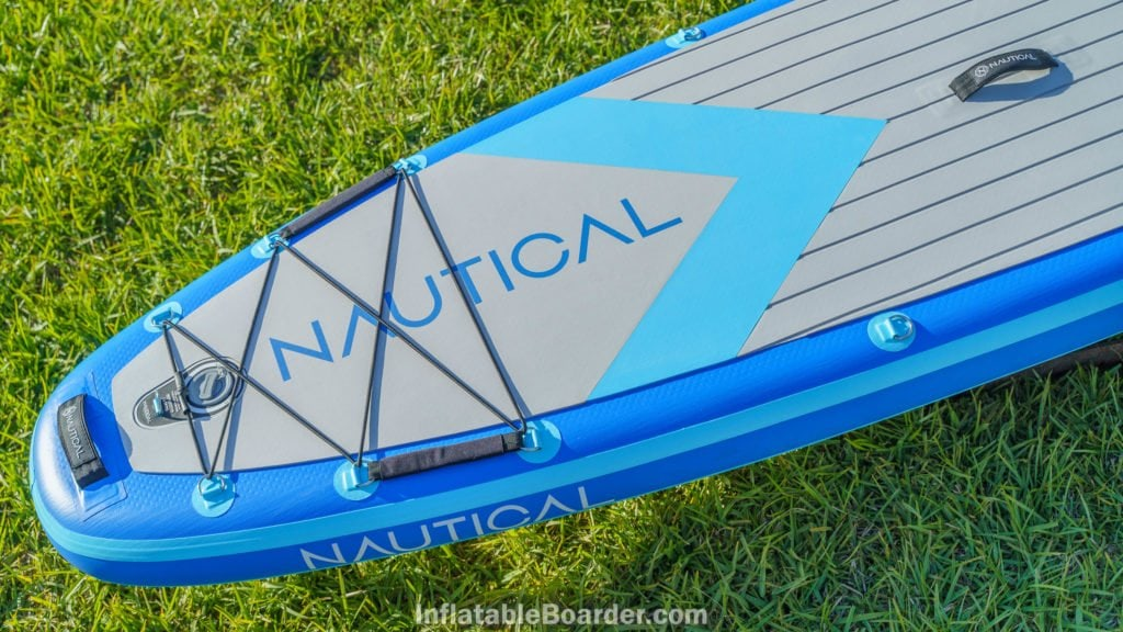 Rear of the board, featuring a large bungie cargo area, two d-rings, inflation valve and SUP leash d-ring, and handle.