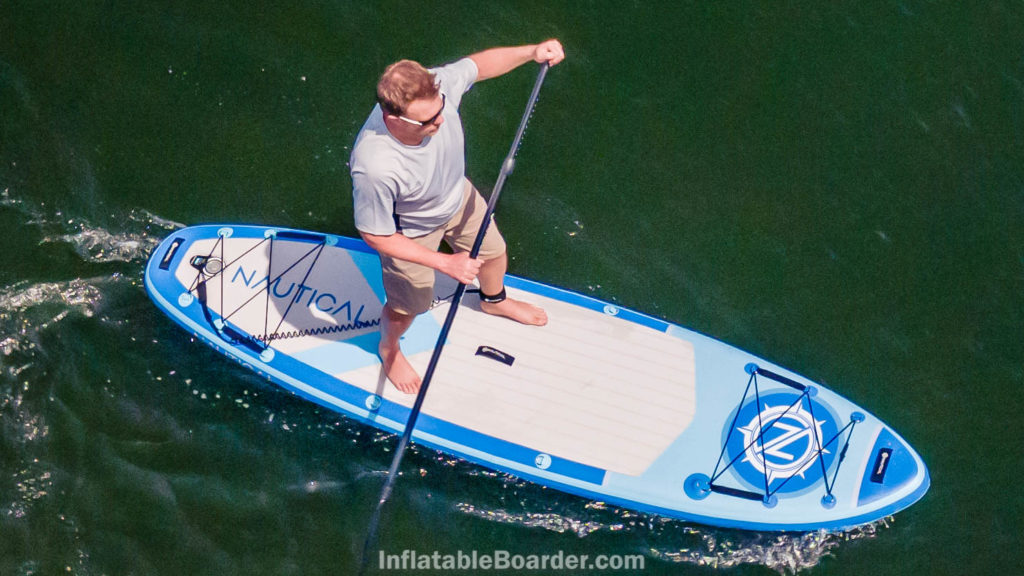 Paddling the SUP, seen from above.