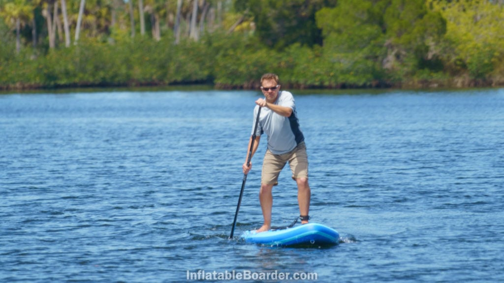 """Paddling the 10'6"""" straight ahead to demonstrate tracking ability."""