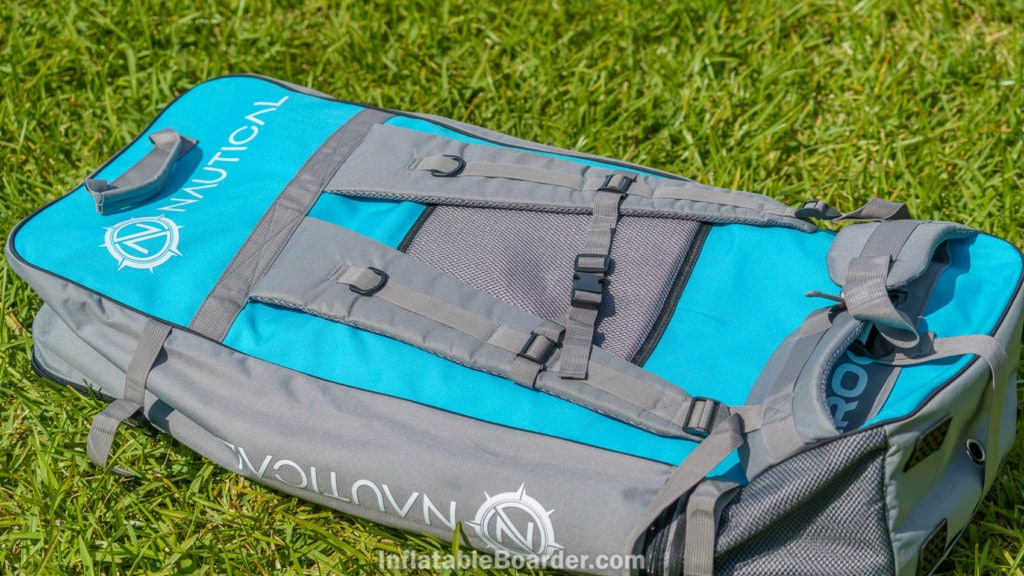 """Back of the Nautical 11'6"""" bag has padded shoulder straps, padded waist strap, a chest strap, mesh back pad, and is color matched to the board."""
