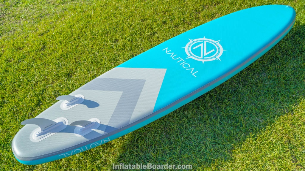 """Overview of the bottom of the teal 11'6"""" board."""
