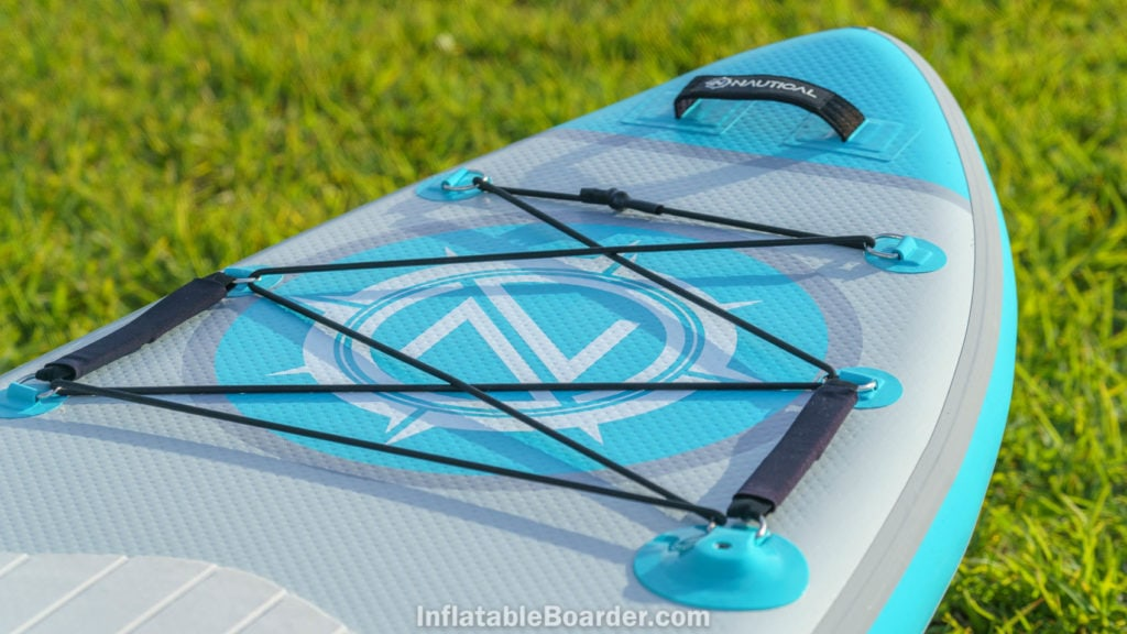 Front of the board showing large bungie cargo area, padded nose strap, detachable child handles, action mount, and logo.
