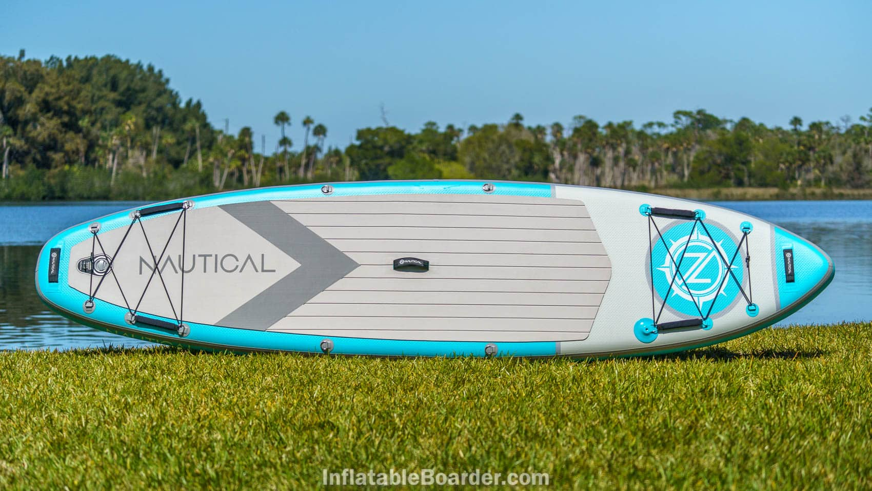 """Top overview of the 2021 Nautical 11'6"""" in teal color option."""