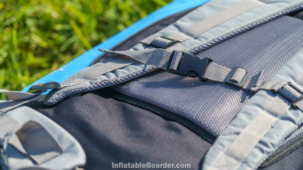 Detail of the mesh padded shoulder straps, mesh padded back cushion, and small chest strap.