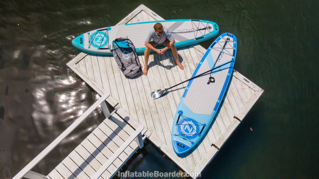 The 2021 teal and blue NAUTICAL boards on a dock from above.