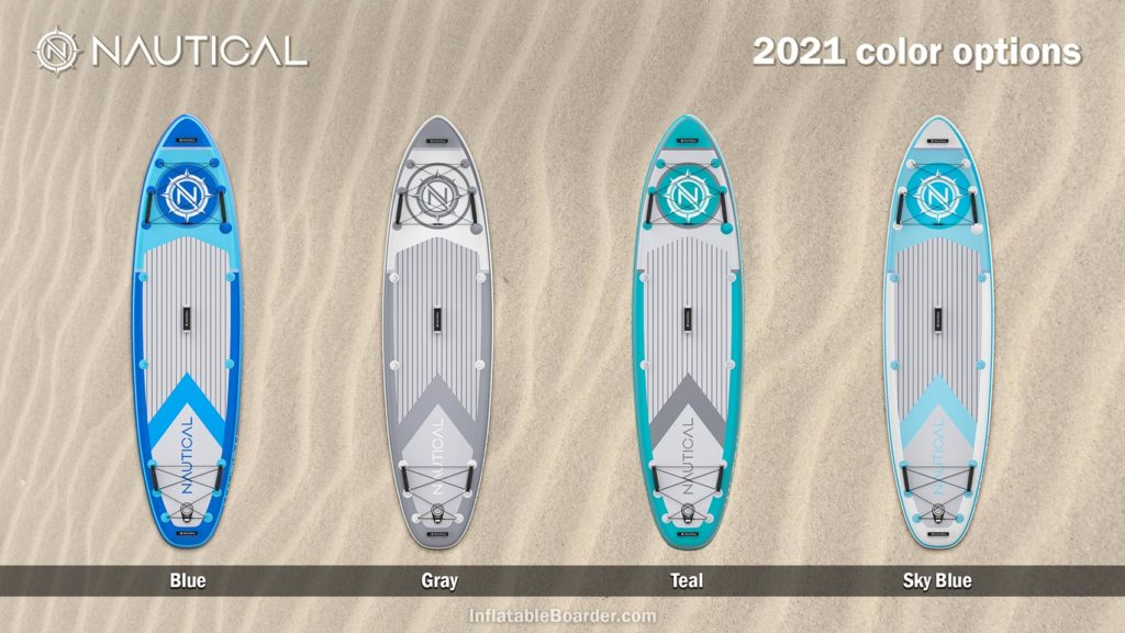 2021 NAUTICAL paddle board color options compared - Includes blue, gray, teal, and sky blue.