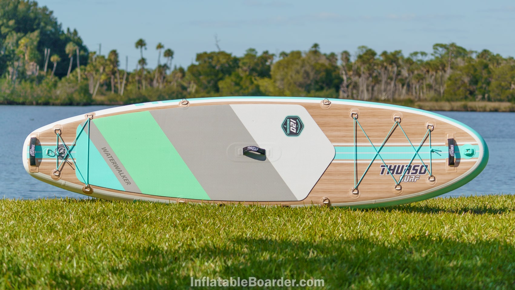Top overview of the 2021 Thurso Waterwalker 120 in aqua color option.