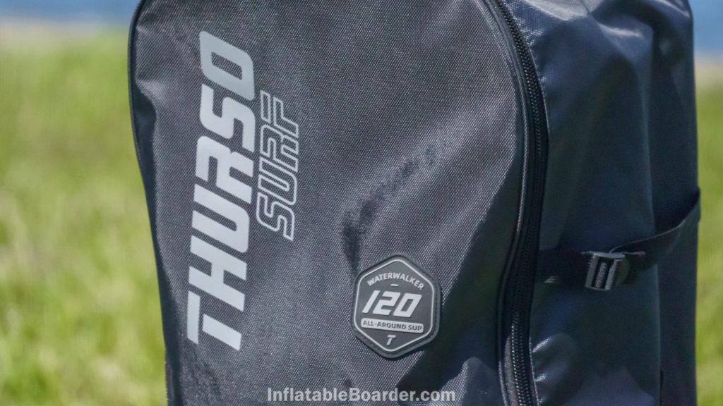 The front of the bag features the Thurso Surf logo and and a rubber Waterwalker 120 All-Around SUP badge.