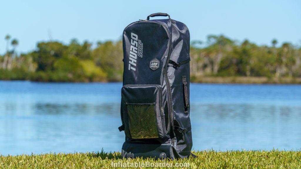 The Waterwalker 120 bag standing near a lake.