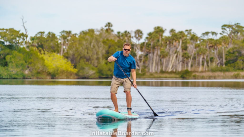 Paddling straight to demonstrate tracking at speed.