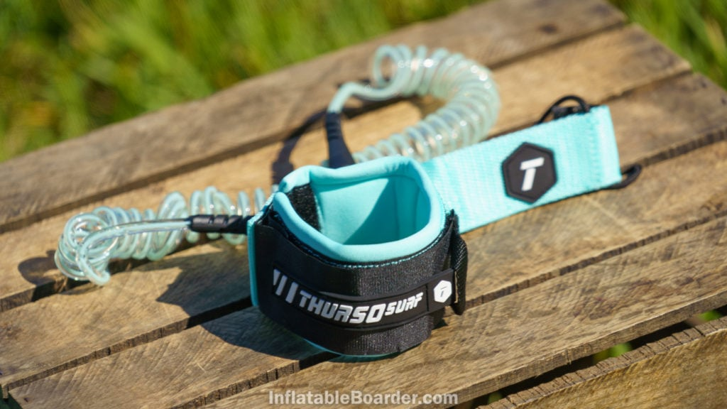 The Waterwalker SUP leash is color matched to the board.