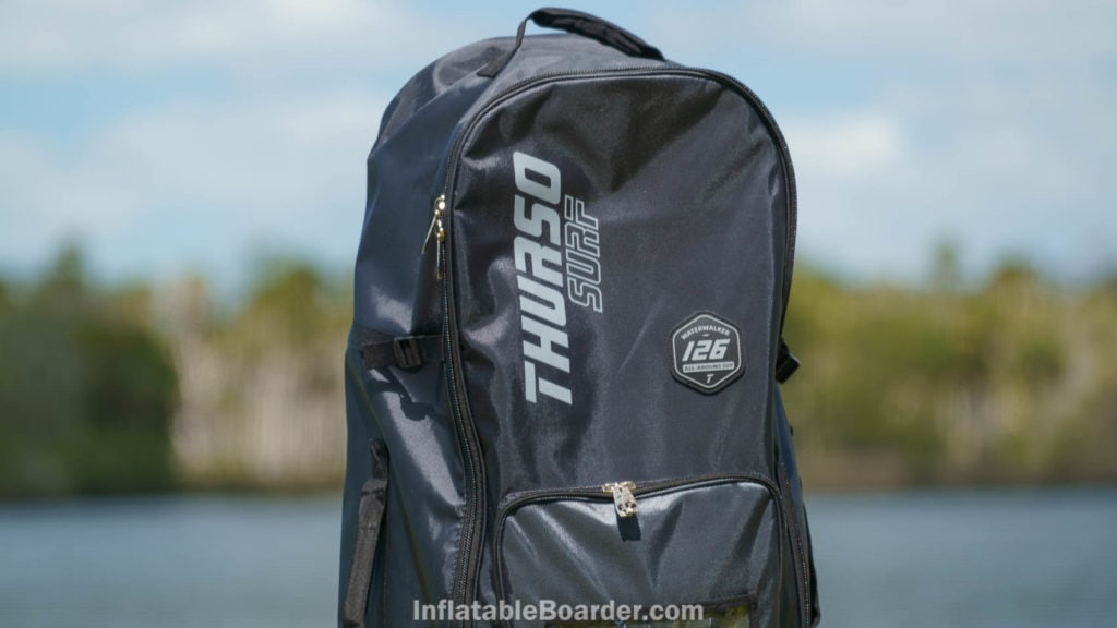 Top of the bag, featuring Thurso Surf logo and rubber Waterwalker 126 All-Around SUP badge.
