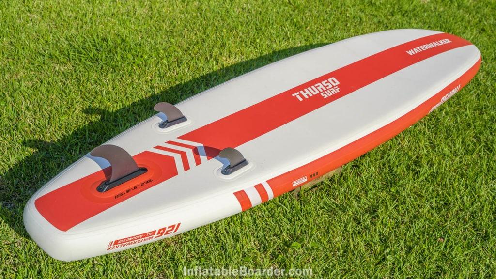 Bottom design on the crimson red 2021 Waterwalker 126.